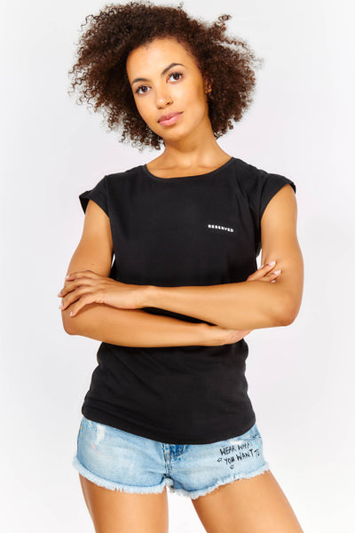 Black Cotton Cropped Sleeve T-shirt