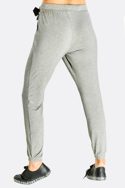 Grey Elasticated Ankle Sports Pants With Front Overlap