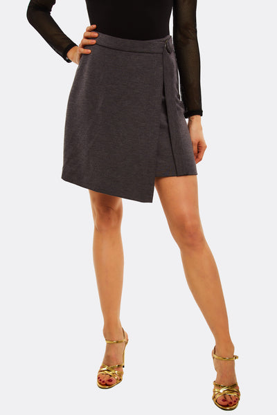 Dark Grey Overlapped Skirt
