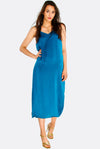 Blue-Green Flowy Dress With Side Slits