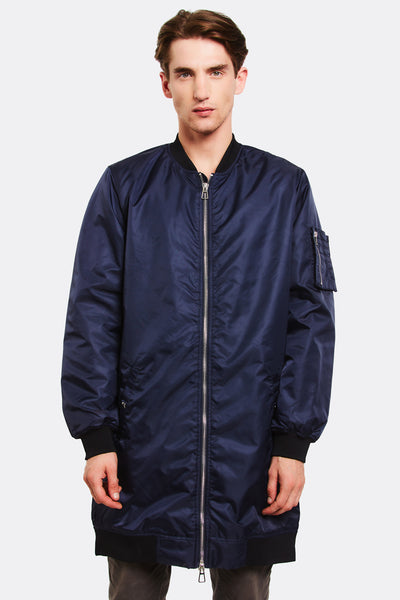 Navy Long Bomber Jacket