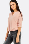 Pastel Pink T-Shirt With V-Neck