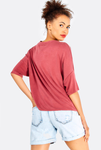Brown Dropped Sleeve Modal Blend T-Shirt