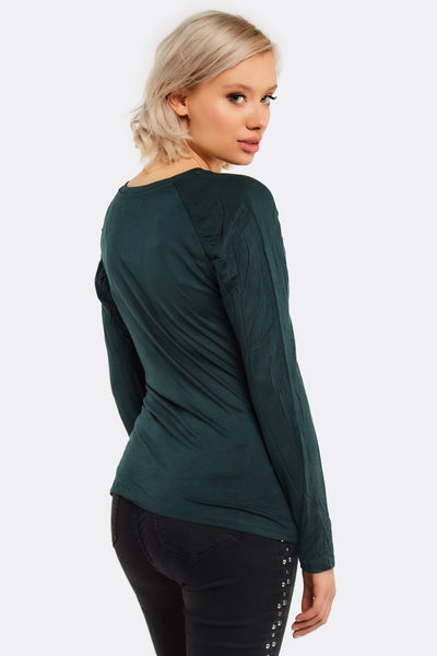 Dark Green Blouse With Round Neck