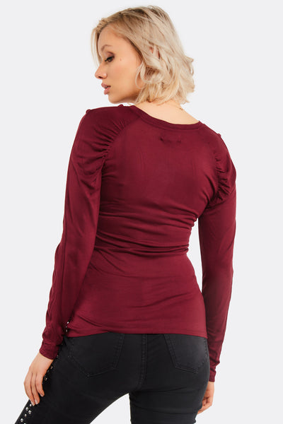 Mahogany Blouse With Round Neck