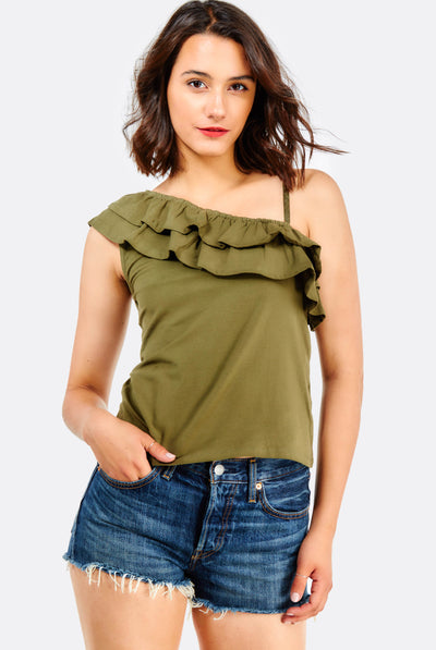 Dark Olive Green Top With Ruffles