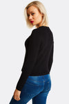 Black Fine Knit Blouse