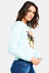Pale Blue Printed Sweatshirt