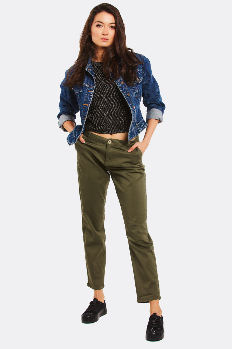Military Green Straight Trousers