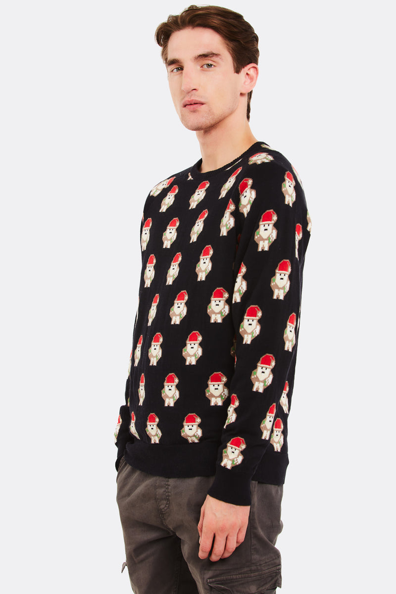 Black Cotton Jumper With Christmas Pattern