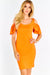 Orange Fitted Dress With Cold Shoulders