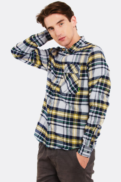 Navy Checkered Cotton Shirt