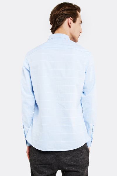 Light Blue Cotton Shirt With Stripes