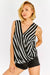 Black And White Overlapped Front Sleeveless Blouse