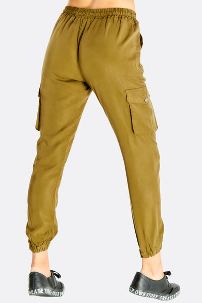 Khaki Elasticated Ankle Sports Pants