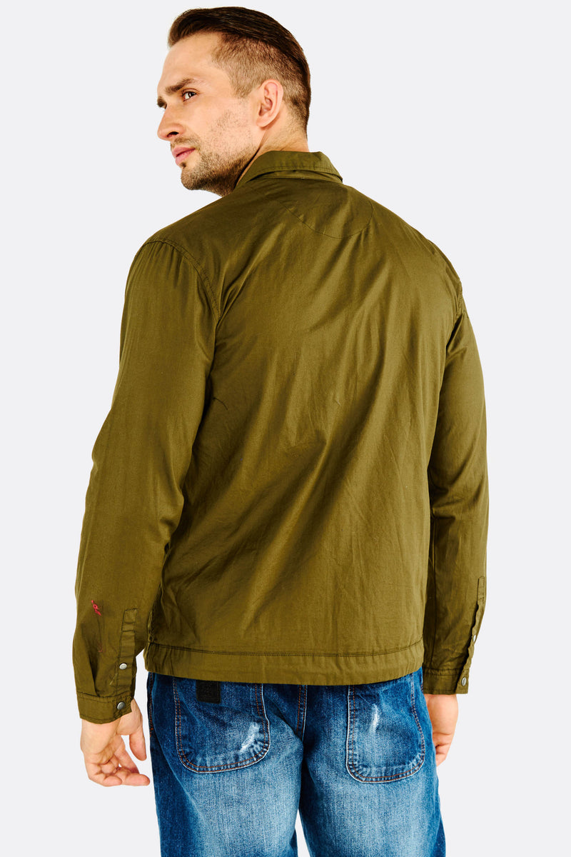 Military Green Thin Jacket With Zipper