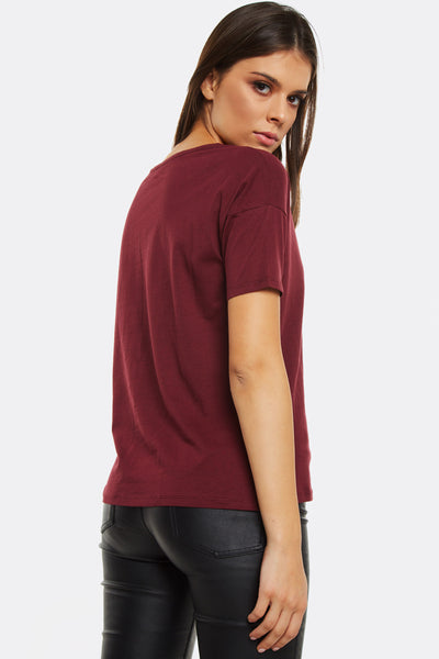 Maroon T-Shirt With Text Print