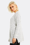 Light Grey Open Front Cardigan