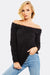Black Fluffy Off Shoulder Jumper