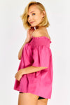 Fuchsia Loose Fit Bardot Blouse