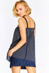 Navy Striped Top With Elastic Edge