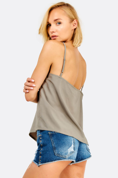 Light Grey Top With Thin Straps