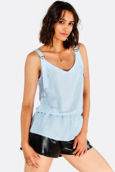 Pale Blue Top With Buckled Straps