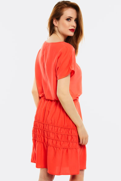 Coral Dress With Elastic Waist