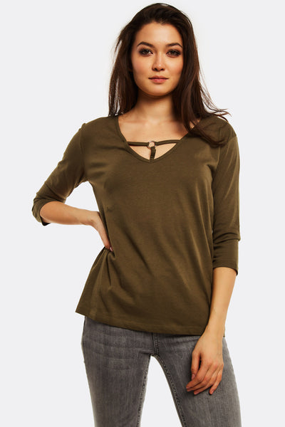 Olive Green Blouse With 3/4 Sleeves