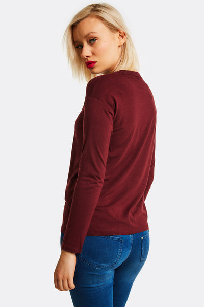 Mahogany Blouse With V-Neck