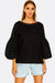Black Cotton Blouse With Puffed Sleeves