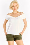 Cream T-Shirt With Cold Shoulders