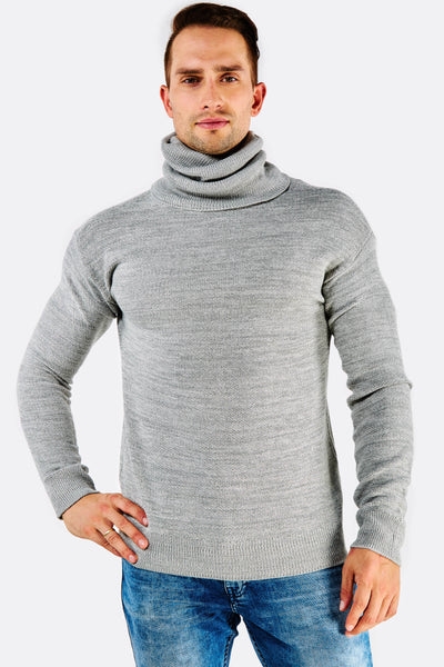 light grey knitted turtleneck sweater
