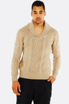 Beige Sweater With Shawl-Collar