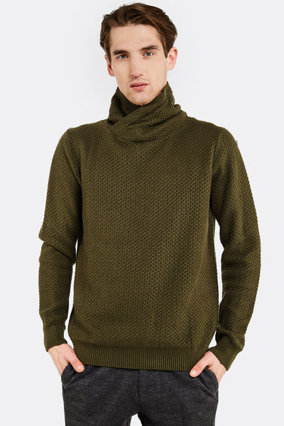 Military Green Jumper With High Neck