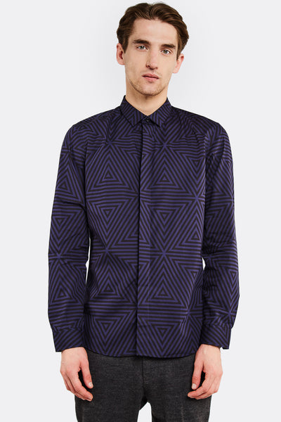 Blue Patterned Cotton Shirt