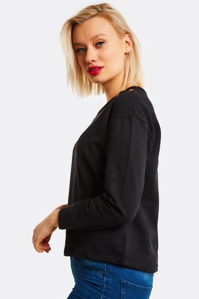 Black Sweatshirt With Cut Out