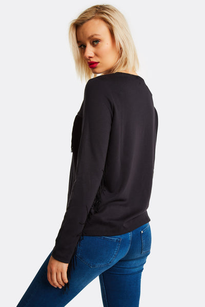 Black Blouse With Fringes