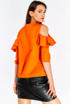 Orange Cotton Blouse With Ruffles
