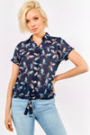 Navy Blue Butterfly Print Shirt With Tie Hem