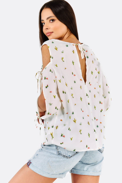 White Printed Blouse