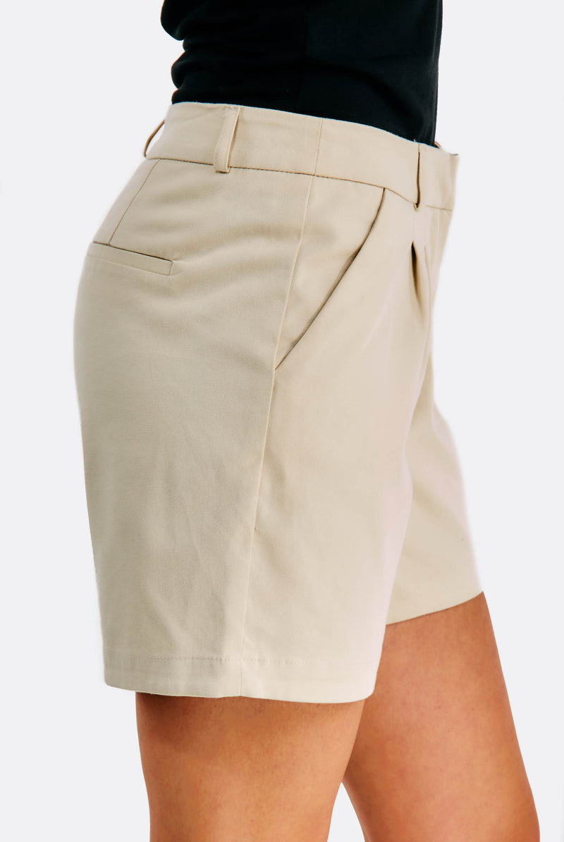 Beige Shorts With Side Pockets