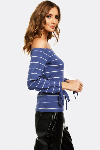 Navy Striped Off Shoulder Blouse
