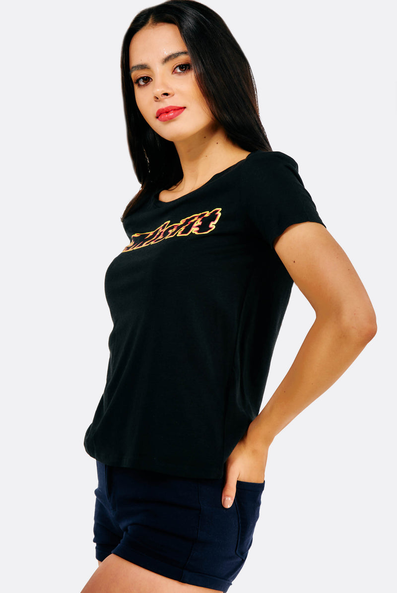 Black T-Shirt With Text Print
