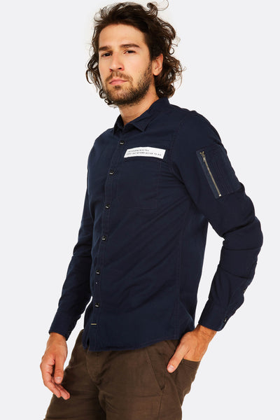navy cotton shirt with chest pocket