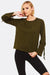 Olive Green Sweatshirt With Bell Sleeves