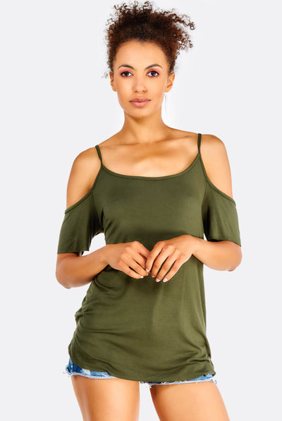Olive Green Top With Cold Shoulders