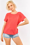 Coral Top with Ruffled Sleeves
