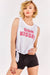 White Slogan Sleeveless Top