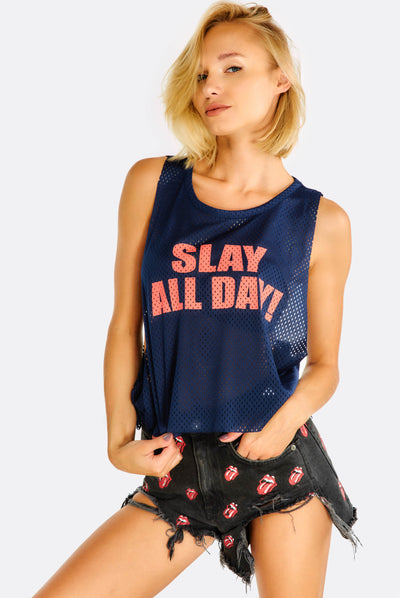 Navy Perforated Top With Text Print